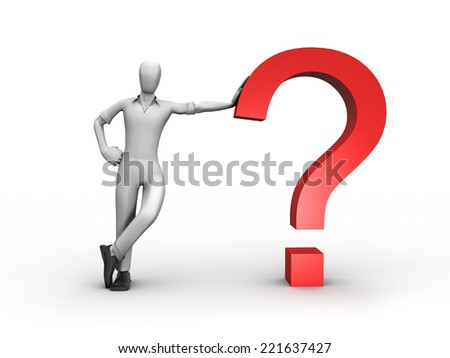 3D image of man with question. - stock photo