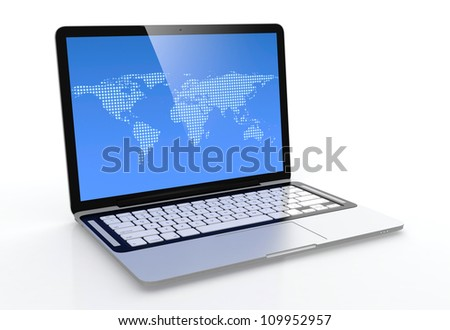 3D image of modern laptop with blue screen isolated on white - stock photo
