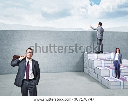 3d image of money stair and business people - stock photo