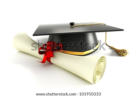 3d image of mortar board with degree against white background - stock photo