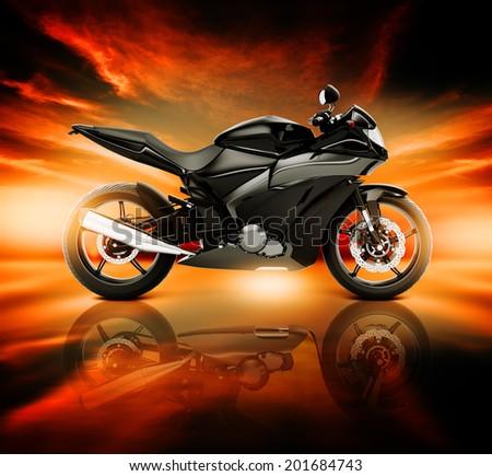 3D Image of Motorcycle with Skyline Horizon - stock photo