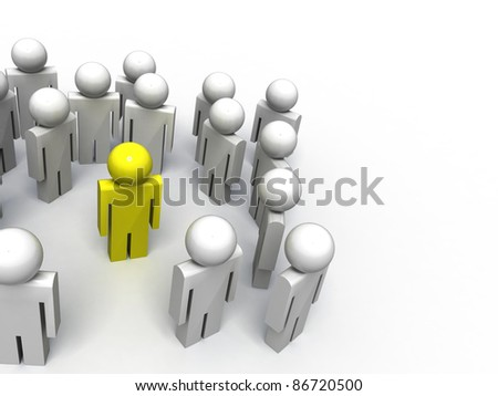 3d image of people symbols, one of them is special - stock photo