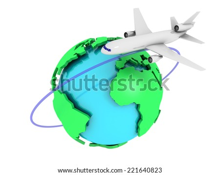 3D image of plane with globe on white background. - stock photo