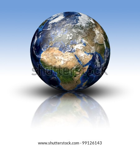 3D image of planet Earth with shadow and reflection. View to Europe and Africa. Elements of this image furnished by NASA - stock photo