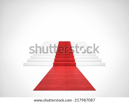 3d image of red carpet on white stair - stock photo