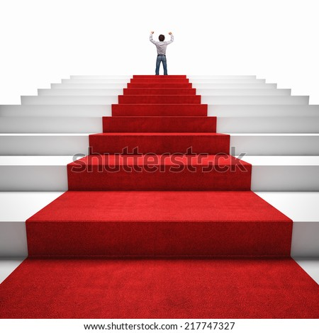 3d image of red carpet on white stair and happy man - stock photo