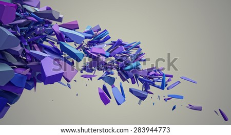 3d image of solid explosion - stock photo