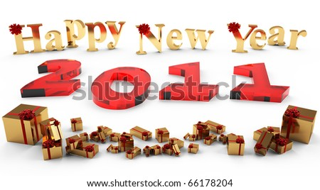 3D image of the new year 2011, of red glass. Inscription New Year and gifts of gold, adorned with a red bow and ribbons. - stock photo