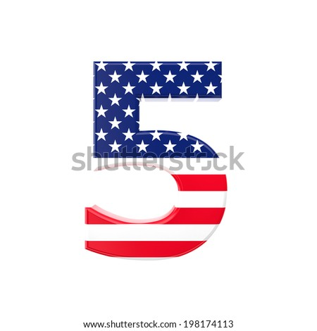 3d image of usa font letter on white background - stock photo