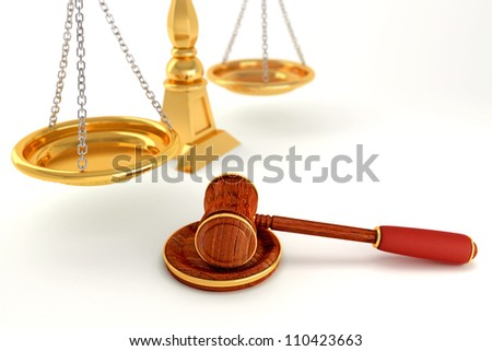3d image of wooden law gavel with scale - stock photo