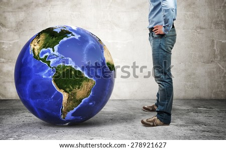 3d image of world globe and man - stock photo