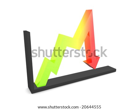 3d image, performance graph, decline - stock photo