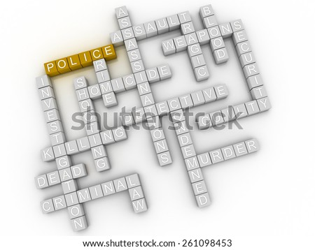 3d image Police  issues concept word cloud background - stock photo