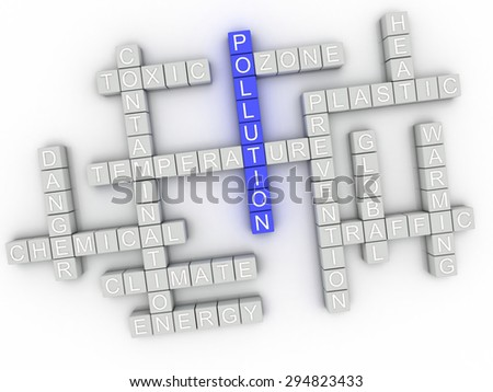3d image Pollution issues concept word cloud background - stock photo