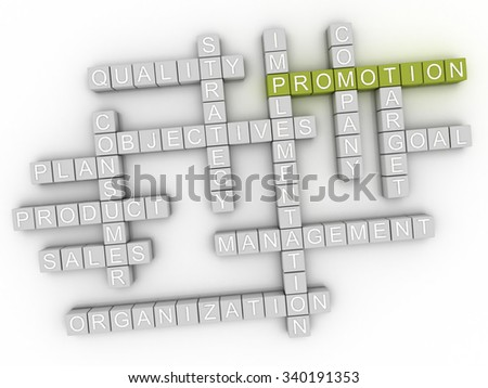 3d image Promotion word cloud concept - stock photo