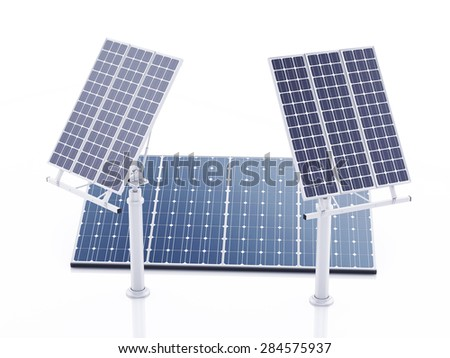 3d image. Solar panels, alternative energy. Isolated white background - stock photo