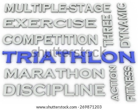 3d image Triathlon issues concept word cloud background - stock photo