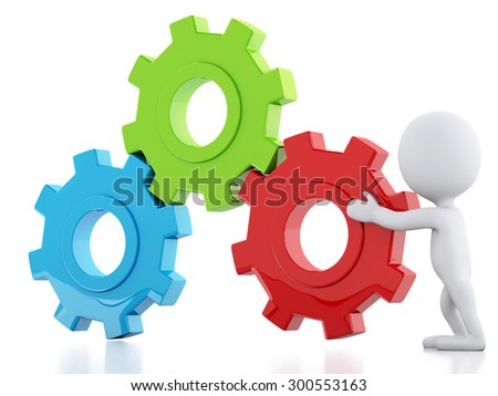 3d image. White business people and gear mechanism. Business concept. Isolated white background - stock photo