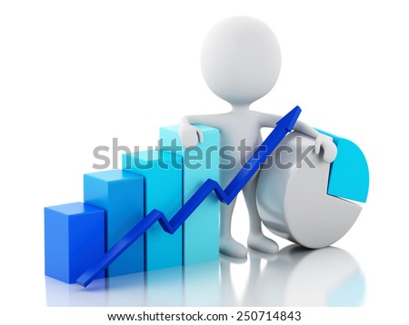 3d image. White business people with statistic graph. Business concept. Isolated white background - stock photo