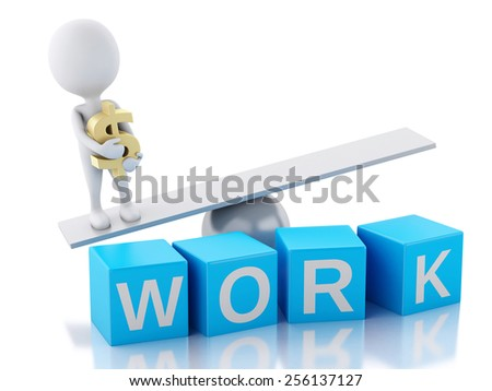 3d image. White people on a balance. Success in work. Business concept. Isolated white background - stock photo