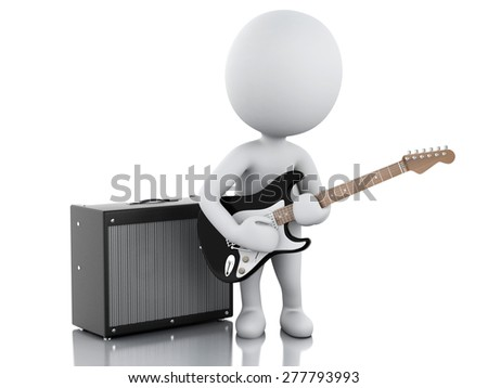 3d image. White people playing electric guitar with Amplifier. Isolated white background - stock photo