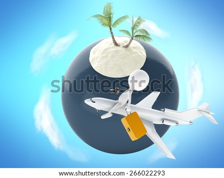 3d image. White people tourist with suitcases, airplane and Tropical island with palm tree. Summer vacation concept - stock photo