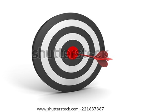 3D image with target and one arrow. - stock photo
