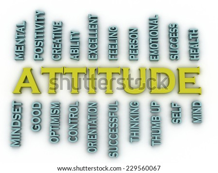 3d imagen Attitude  issues concept word cloud background - stock photo