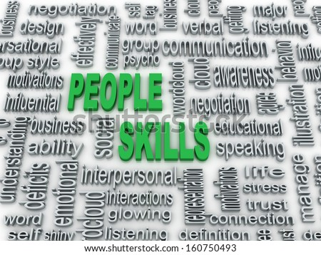 3d imagen, background concept wordcloud illustration of people skills  - stock photo