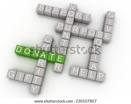 3d imagen Donate issues concept word cloud background - stock photo