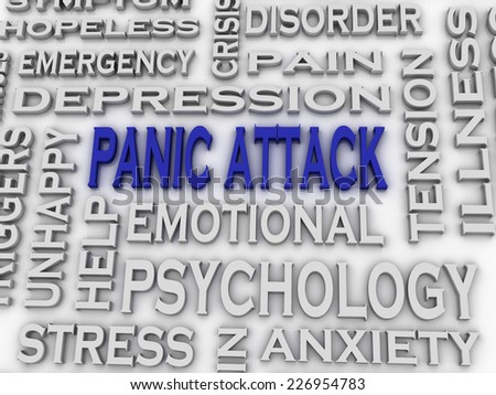 3d imagen Panic attack  issues concept word cloud background - stock photo