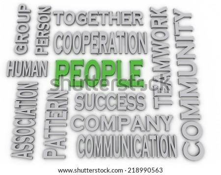 3d imagen People concept word cloud background - stock photo