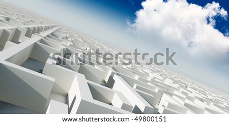 3d infinity maze under sky with cloud - stock photo