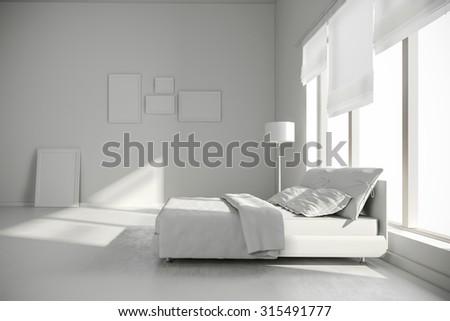 3d interior bedroom render - stock photo