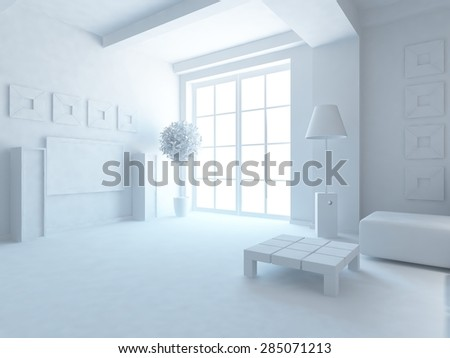 3d interior of a room in the large flat - stock photo
