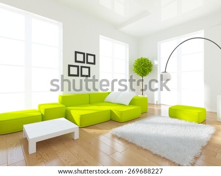 3d interior of a white large living room - stock photo