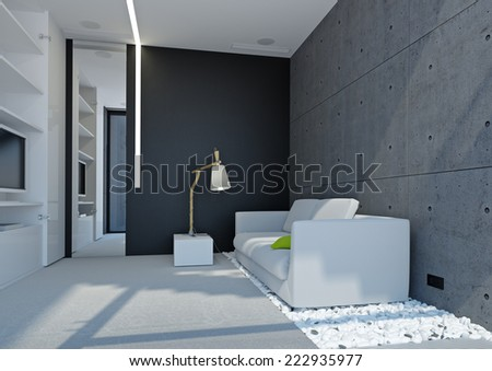 3d interior of office in gray color - stock photo
