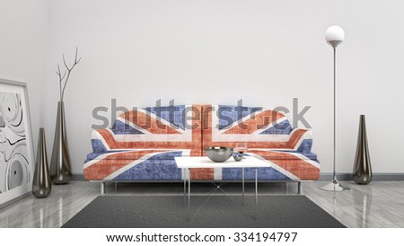 3d interior render image of an Great Britain flag sofa in a room with space for your content - stock photo