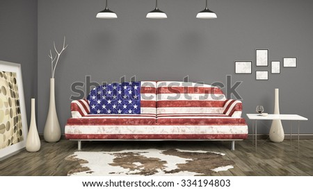 3d interior render image of an usa flag sofa in a room with a cow skin - stock photo