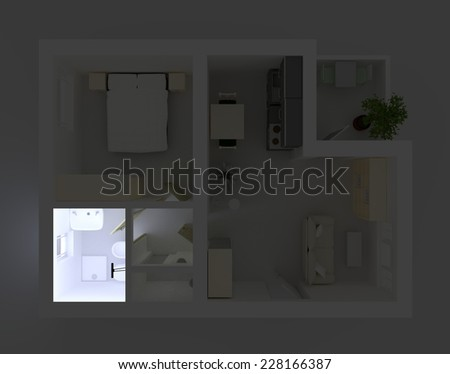 3d interior rendering of illuminated and furnished bathroom - stock photo