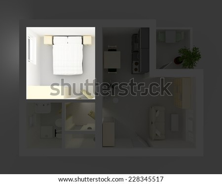3d interior rendering of illuminated and furnished bedroom - stock photo