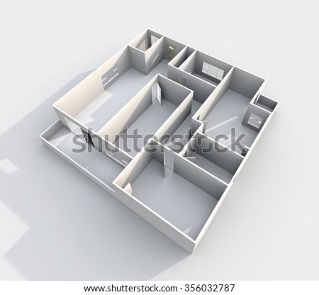 3d interior rendering of paper model apartment - stock photo