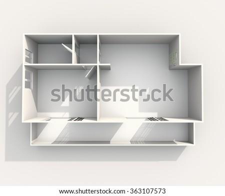 3d interior rendering of rectangular paper model apartment - stock photo