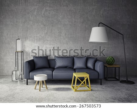 3d interior room with dark sofa and glass bottles - stock photo