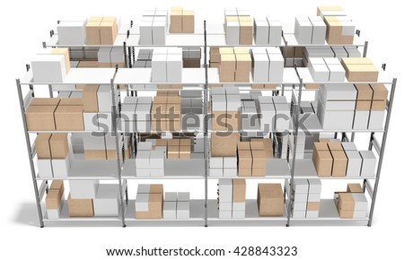 3d interior warehouse with rows of shelves and boxes on white background 3D illustration - stock photo