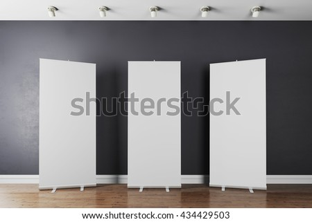 3d interior with  blank white poster - stock photo