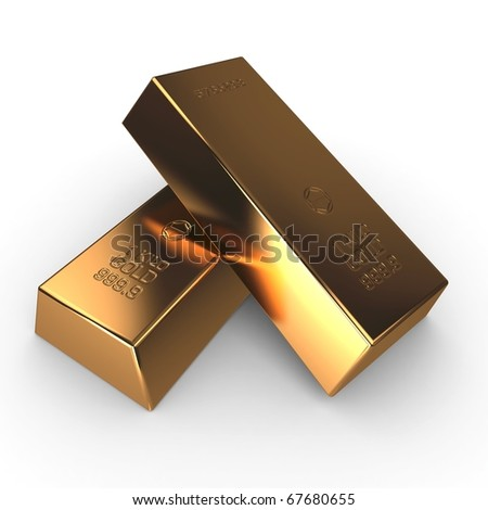 3d investment gold bars isolated on white - stock photo