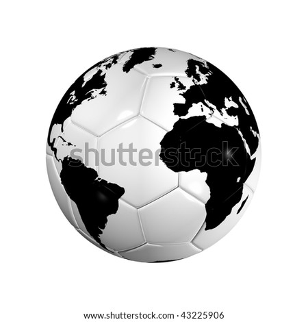 3D isolated Black and white soccer ball with world map, world football cup 2010 - stock photo