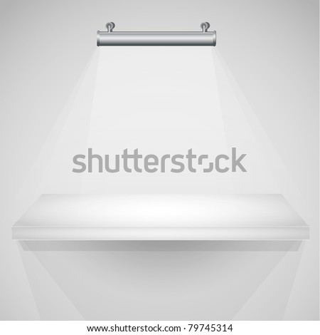 3d isolated Empty shelf for exhibit. - stock photo