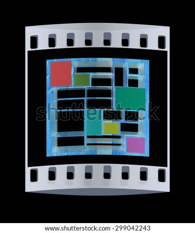 3d isolated Empty wood colorful bookshelf on a black background. The film strip - stock photo
